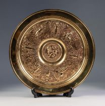 NINETEENTH CENTURY ELKINGTON STYLE ELECTRO-TYPE LOW CIRCULAR TAZZA, embossed with classical figures,