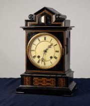 BEHA STYLE NINETEENTH CENTURY EBONISED AND INLAID CUCKOO MANTLE CLOCK WITH TWIN FUSEE MOVEMENT,