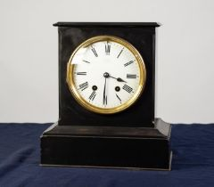 VICTORIAN BLACK SLATE MANTLE CLOCK, faintly signed GODWIN, HOLBURN, LONDON, the 6? enamelled Roman