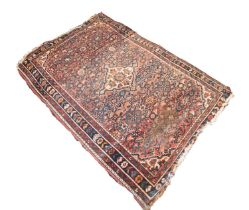 SHIRAZ PERSIAN SEMI-ANTIQUE RUG with diamond shaped white and floral centre medallion with four