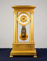 NINETEENTH CENTURY FRENCH ORMOLU PORTICO MANTLE CLOCK, the 4? Roman dial with enamelled chapter ring