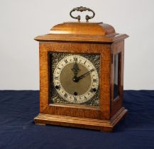 GEORGIAN STYLE MAHOGANY BRACKET CLOCK, the 5? brass dial with silvered chapter ring, matted centre