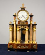 NINETEENTH CENTURY BEIDERMEIER ALABASTER AND GILT METAL MOUNTED BURR WOOD PORTICO TYPE MANTLE CLOCK,