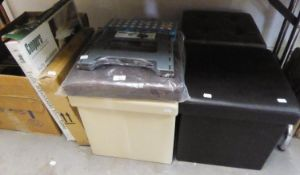 FIVE VARIOUS COLOURED LEATHERETTE FOLD-AWAY POUFFE'S, A BELDRAY FOLD-AWAY STEP STOOL AND A TUBULAR