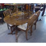 MODERN REGENCY STYLE TWIN PEDESTAL DINING TABLE, cantilever leaf, and a SET OF FOUR SHIELD BACK