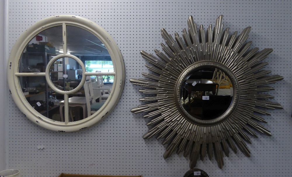 A MODERN SILVERED SUNBURST WALL MIRROR AND ANOTHER CIRCULAR MIRROR IN WHITE PAINTED FRAME (2)