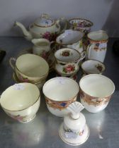 SUTHERLAND BONE CHINA ?PEACH BLOSSOM? PATTERN TEA-FOR-TWO SET OF SEVEN PIECES; SIX OTHER SPECIMEN