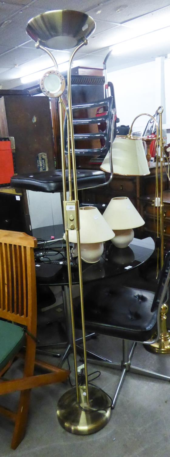 A METAL UPLIGHTER FLOOR LAMP WITH READING ARM AND A PAIR OF BEDSIDE LAMPS (3)