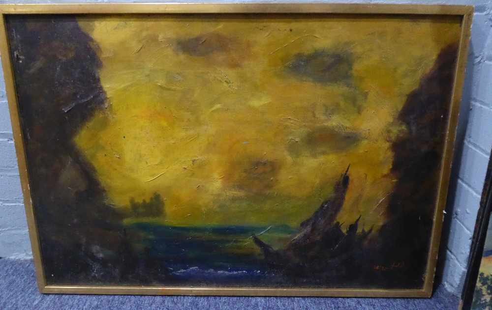 TWENTIETH CENTURY SCHOOL OIL ON BOARD A TURNERESQUE STUDY OF A ROCKY COASTLINE AT SUNSET WITH A