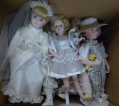 EIGHT MODERN CERAMIC HEADED COLLECTORS DOLLS, ALL IN COSTUME AND SOME ON METAL STANDS, INCLUDES