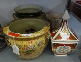 ORIENTAL CHINA FISH BOWL; A SQUARE BOWL AND COVER AND TWO CERAMIC JARDINIÈRES (4)