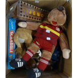 BOX OF SOFT TOYS VARIOUS AND A BOXED JUNIOR SCRABBLE ETC...