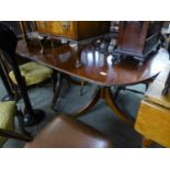 A MAHOGANY REGENCY STYLE ?D? END DOUBLE PEDESTAL DINING TABLE WITH ONE LOOSE LEAF