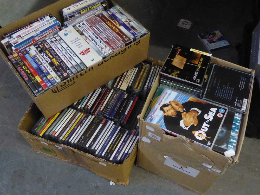 A GOOD SELECTION OF DVD's AND CDs (CONTENTS OF 3 BOXES)