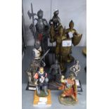 TEN SMALL FIGURES OF KNIGHTS, ETC., IN ARMOUR, VARIOUS SIZES, ONE ON HORSEBACK (10)