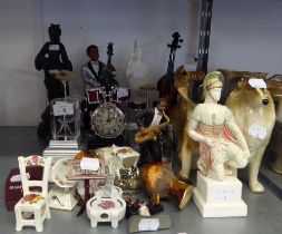 VARIOUS CERAMIC OR RESIN FIGURES AND DOG ORNAMENTS AND TEN OTHER SMALL ORNAMENTS
