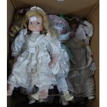 """EIGHT MODERN CERAMIC HEADED COLLECTORS DOLLS, ALL IN COSTUME AND SOME ON METAL STANDS, APPROX 17"""" ("""