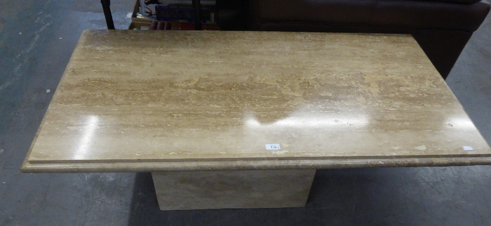 A SUITE OF THREE MARBLE COFFEE TABLES, ON BLOCK BASES, ONE LARGE OBLONG AND A PAIR OF SQUARE TABLES