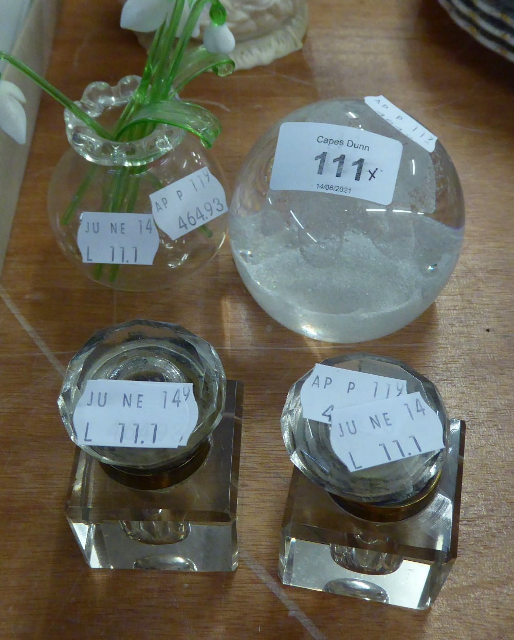 CAITHNESS GLASS PAPERWEIGHT; A PAIR OF GLASS SQUARE INKWELLS WITH HINGED LIDS AND A GLASS VASE