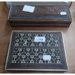 TWO MIDDLE EASTERN CARVED AND INLAID BOXES (2)
