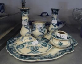 KEELING AND CO., (LATE MAYER) 'CROMER' ART DECO DESIGN BLUE AND WHITE POTTERY SIX PIECE DRESSING