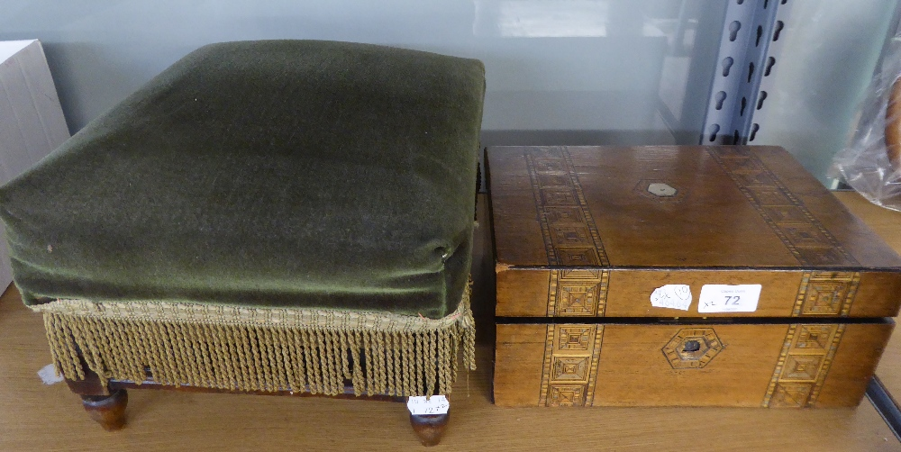 VICTORIAN TUNBRIDGE WARE BANDED WALNUT WORK BOX, with lift-out tray, and a VICTORIAN MAHOGANY