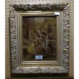 """A CRYSTOLEUM DEPICTING A COURTIER WATCHING A LADY PAINTING AT AN EASEL, 9 1/2"""" X 7"""" FRAMED"""