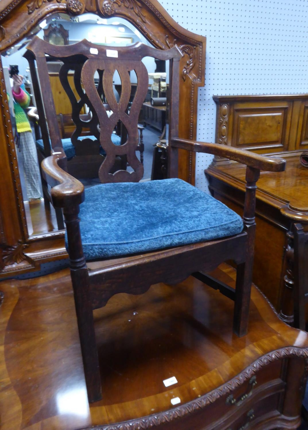 ANTIQUE COUNTRY OAK CARVER ARMCHAIR, with pierced splat, square, moulded front laegs and later