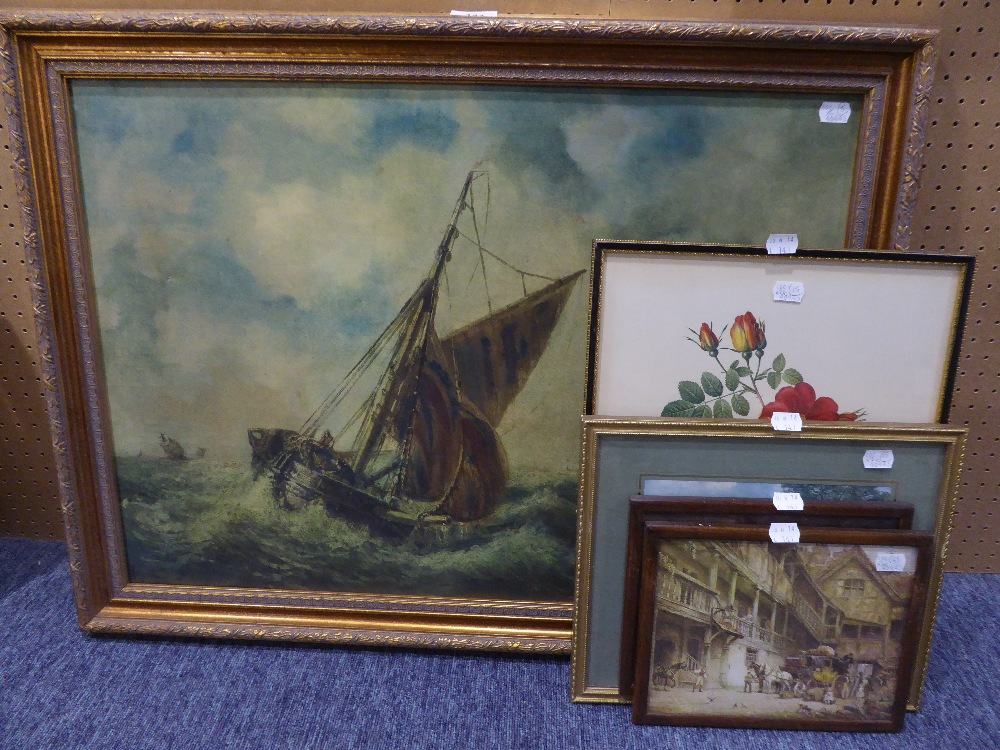 REDOUTE, COLOUR PRINT REPRODUCTION ?Roses SMALL COLOUR PRINT AFTER CONSTABLE AND THREE OTHER