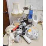 A WHITE PLASTER PUTTO WALL BRACKET, A CERAMIC TABLE LAMP, A LAVA LAMP, TWO DESK LAMP, VARIOUS