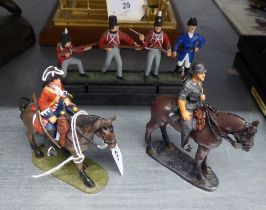 TWO COLD PAINTED LEAD EQUESTRIAN SOLDIERS AND A SET OF FOUR SOLDIERS (6)