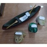 A CARVED MALACHITE MODEL OF A FROG; AN ONYX MODEL FROG AND ANOTHER AND A CARVED WOOD MODEL OF AN