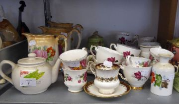 A QUANTITY OF ROSE DECORATED CHINA TEA WARES, VARIOUS MAKERS, APPROXIMATELY 38 PIECES AND SUNDRY