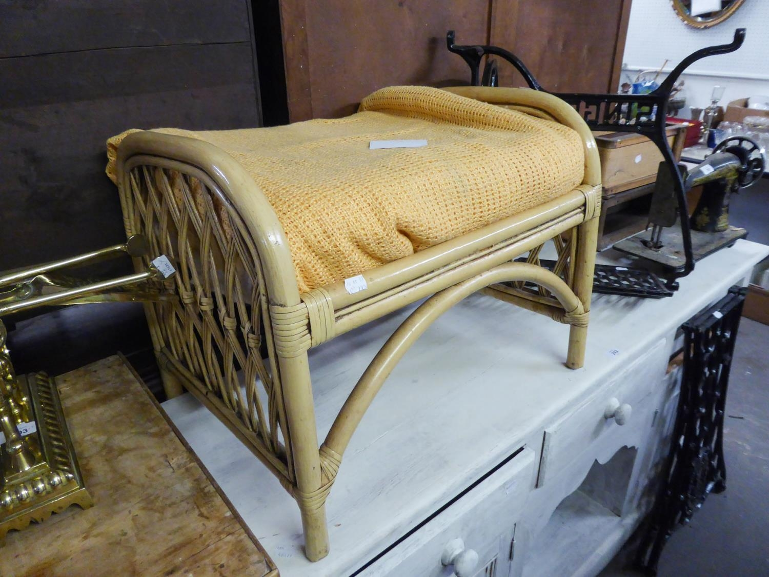 A WHITE WICKER ARMCHAIR AND COFFEE TABLE AND A WICKER STOOL (3) - Image 2 of 2