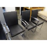SET OS SIX FEBLAND 'BRECIA' BRIGHT STEEL CANTILEVER DINING CHAIRS WITH BLACK HIDE BACKS AND SEATS