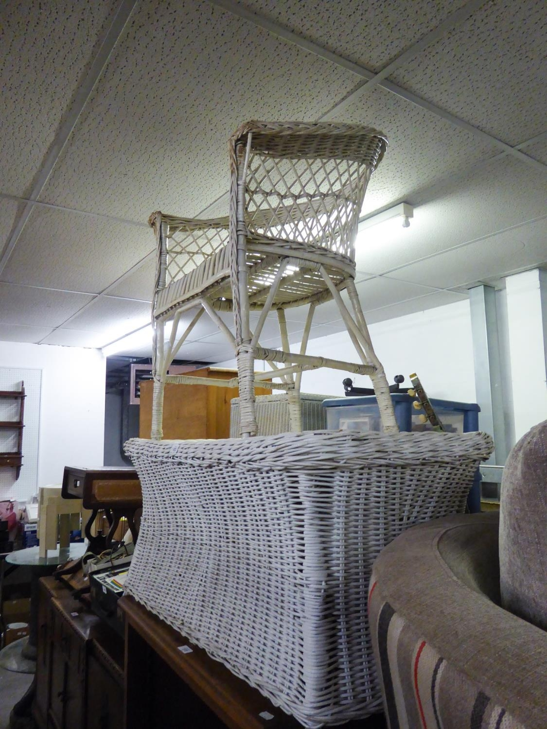A WHITE WICKER ARMCHAIR AND COFFEE TABLE AND A WICKER STOOL (3)
