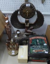 COMPOSITION MANTEL CLOCK IN THE FORM OF A THE EGYPTIAN WINGED GODDESS 'ISIS' HAVING BATTERY