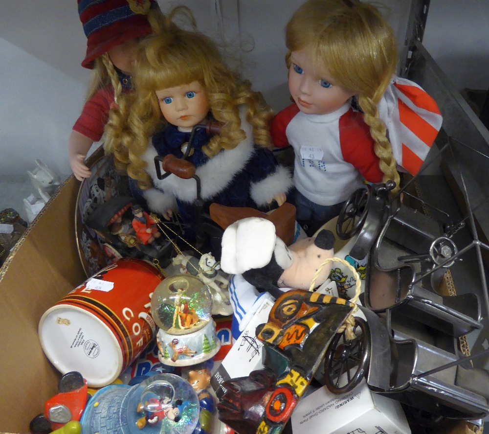 THREE PORCELAIN COLLECTORS DOLLS, A MINIATURE TRICYCLE, DISNEY SOFT TOYS AND SMALL CHINA FIGURES,