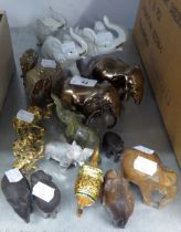 A SELECTION OF SMALL POTTERY, WOODEN AND BRASS ELEPHANTS (APPROX 18)