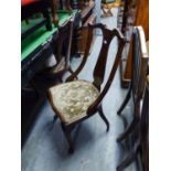 A PAIR OF EDWARDIAN MAHOGANY BOXWOOD STRUNG DRAWING ROOM CHAIRS, ALSO AN EASTERN CARVED DARK STAINED