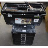 BISLEY BLACK METAL TABLE TOP NEST OF FIVE SHALLOW FILING DRAWERS, 11? WIDE, 12 ¾? HIGH AND A ?PRO?