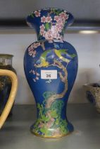 WINKLE AND CO., WHIELDEN WARE 'PICARDY' PATTERN LARGE BALUSTER VASE, JAPANESE DESIGN OF BIRDS IN