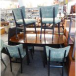TAY BROS. FURNITURE, 1959 TEAK DINING ROOM SUITE, VIZ A SIDEBOARD, A FALL-LEAF DINING TABLE AND
