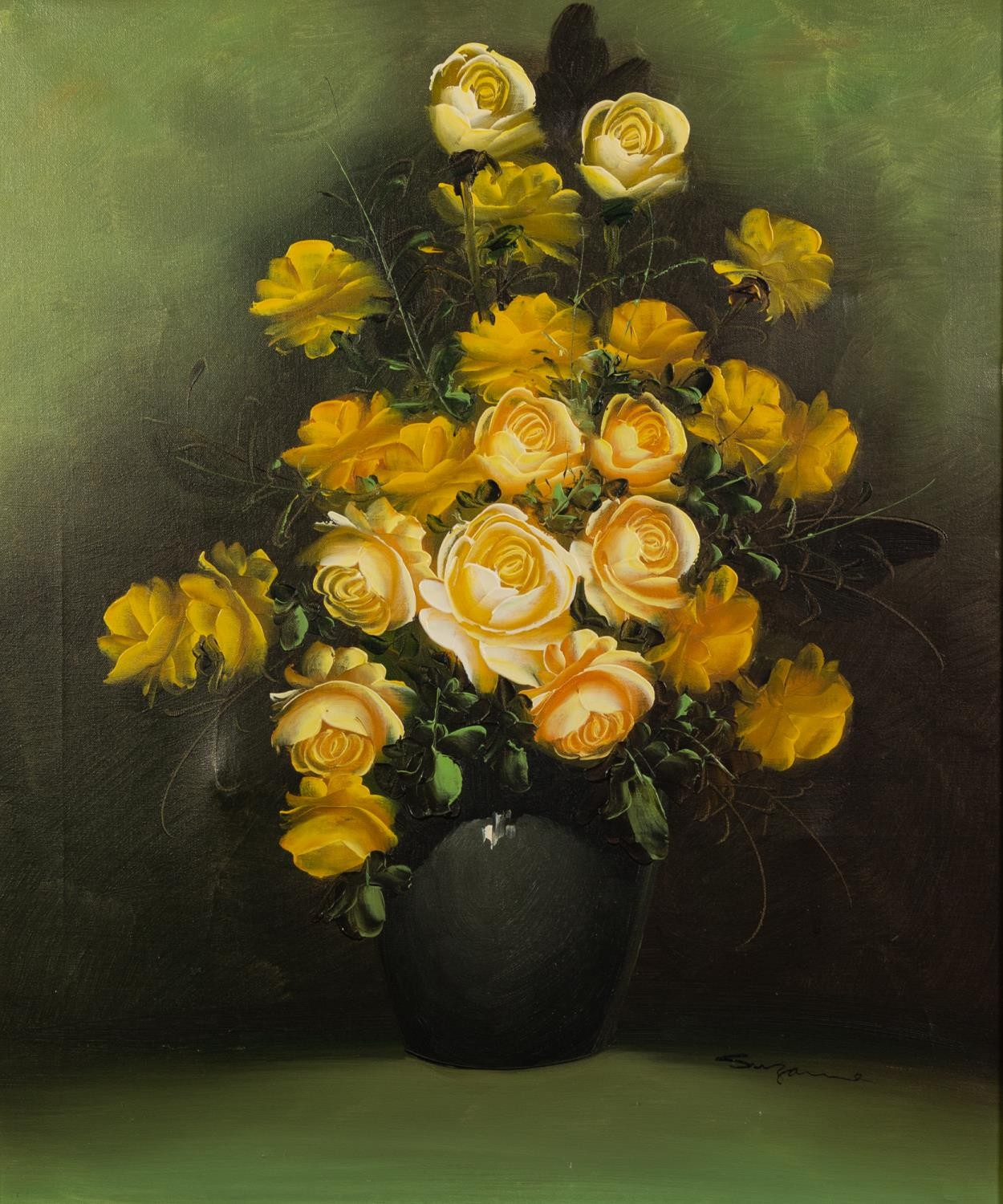SUZANNE (MODERN) OIL ON CANVAS Vase of yellow roses Signed 24in x 19 1/2in (61 x 49.5cm)