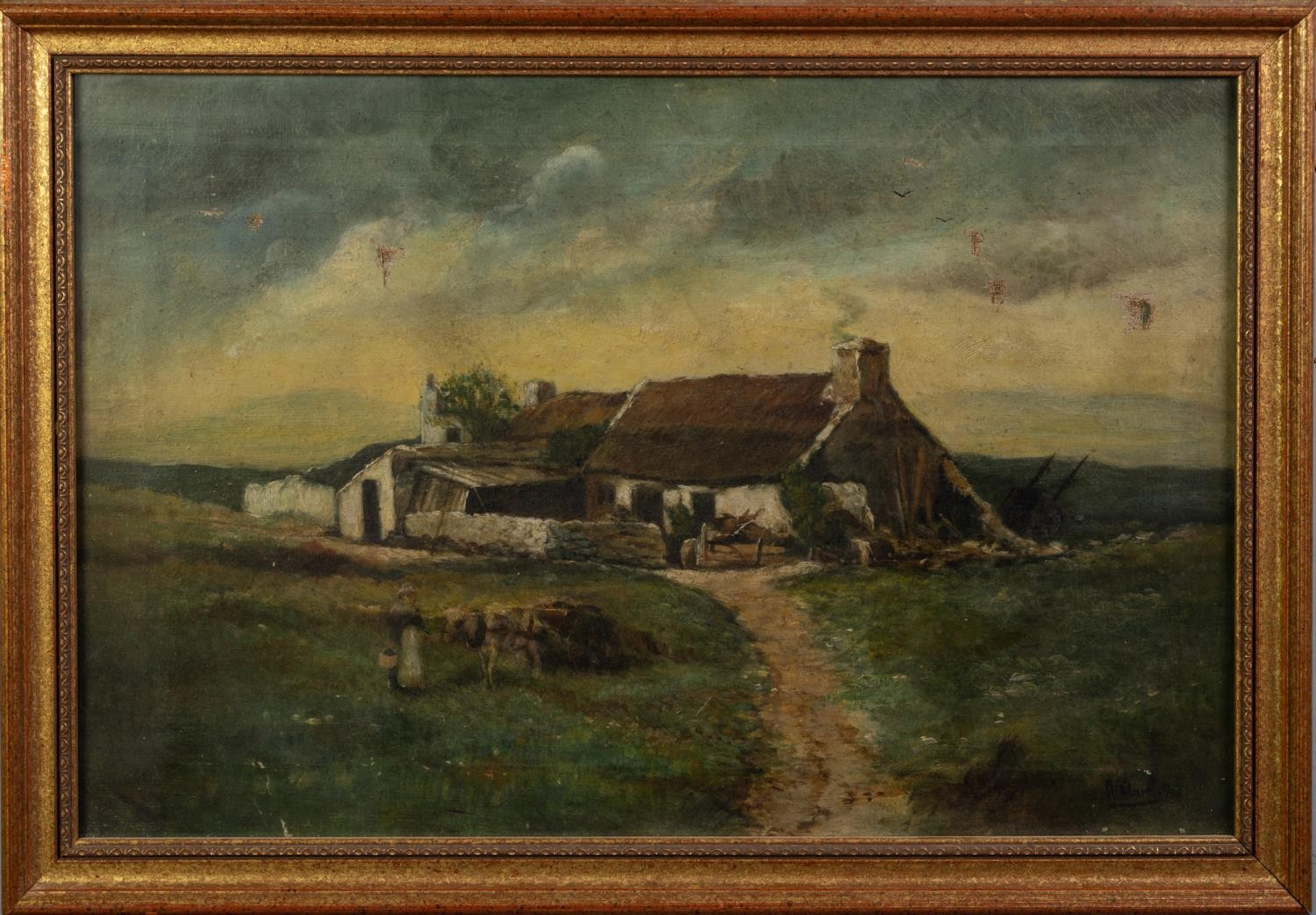 UNATTRIBUTED (NINETEENTH CENTURY) OIL PAINTING Rural landscape with farm building and a maid with