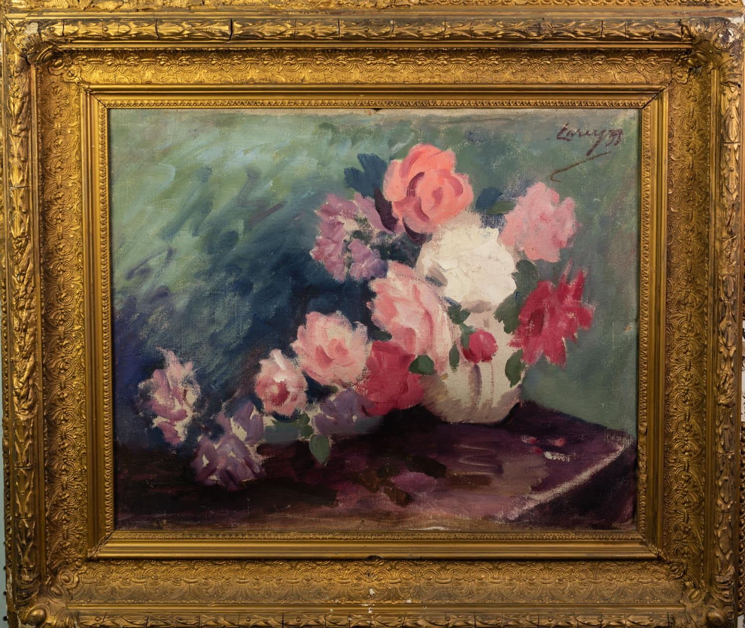 BRITISH SCHOOL (20th Century) OIL PAINTING ON CANVAS Study of roses in a vase Indistinctly signed - Image 2 of 2