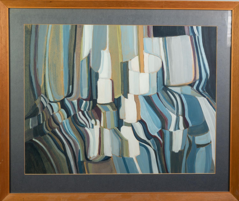 B.M. (TWENTIETH/ TWENTY FIRST CENTURY) GOUACHE DRAWING Abstract Initialled 15 ½? x 20? (39.3cm x - Image 2 of 2