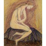 GOLDA ROSE (1921-2016) MIXED MEDIA ON BOARD Naked female figure kneeling Unsigned and untitled 12 ½?