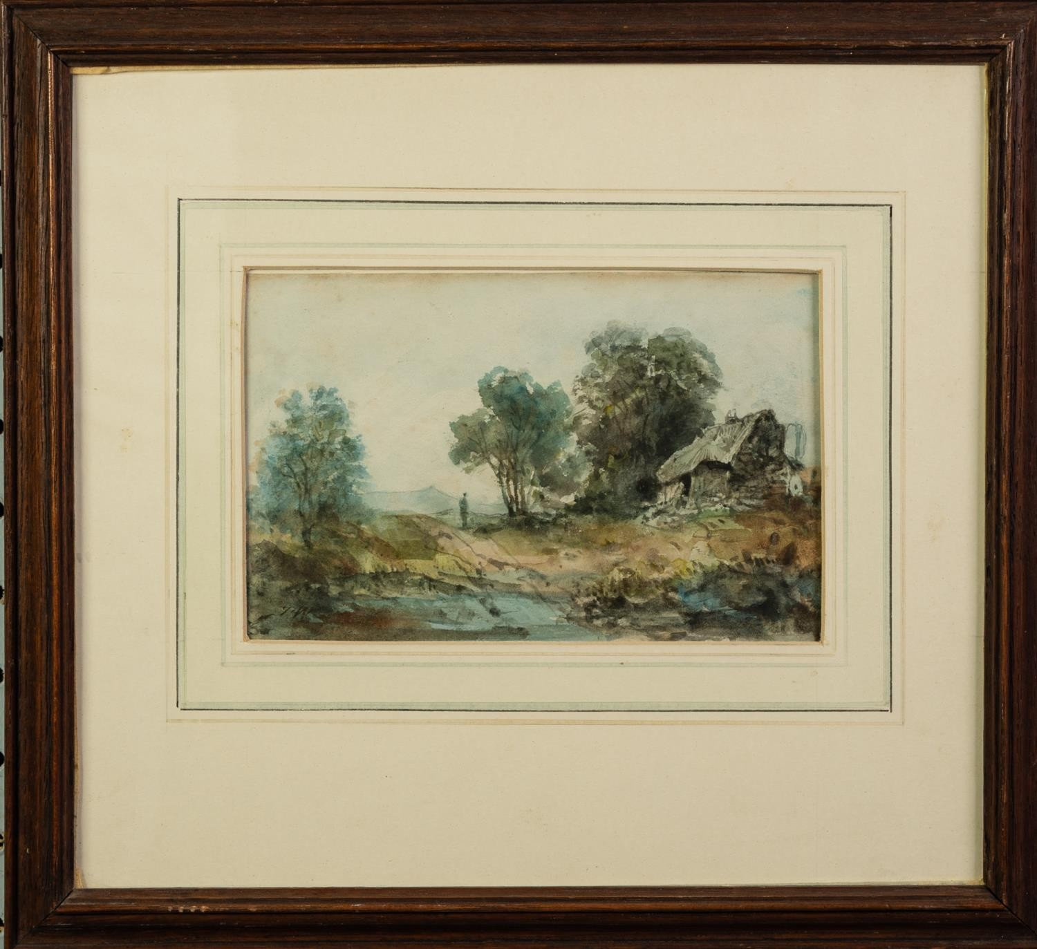 UNATTRIBUTED (NINETEENTH CENTURY) OIL PAINTING Rural landscape with farm building and a maid with - Image 3 of 4
