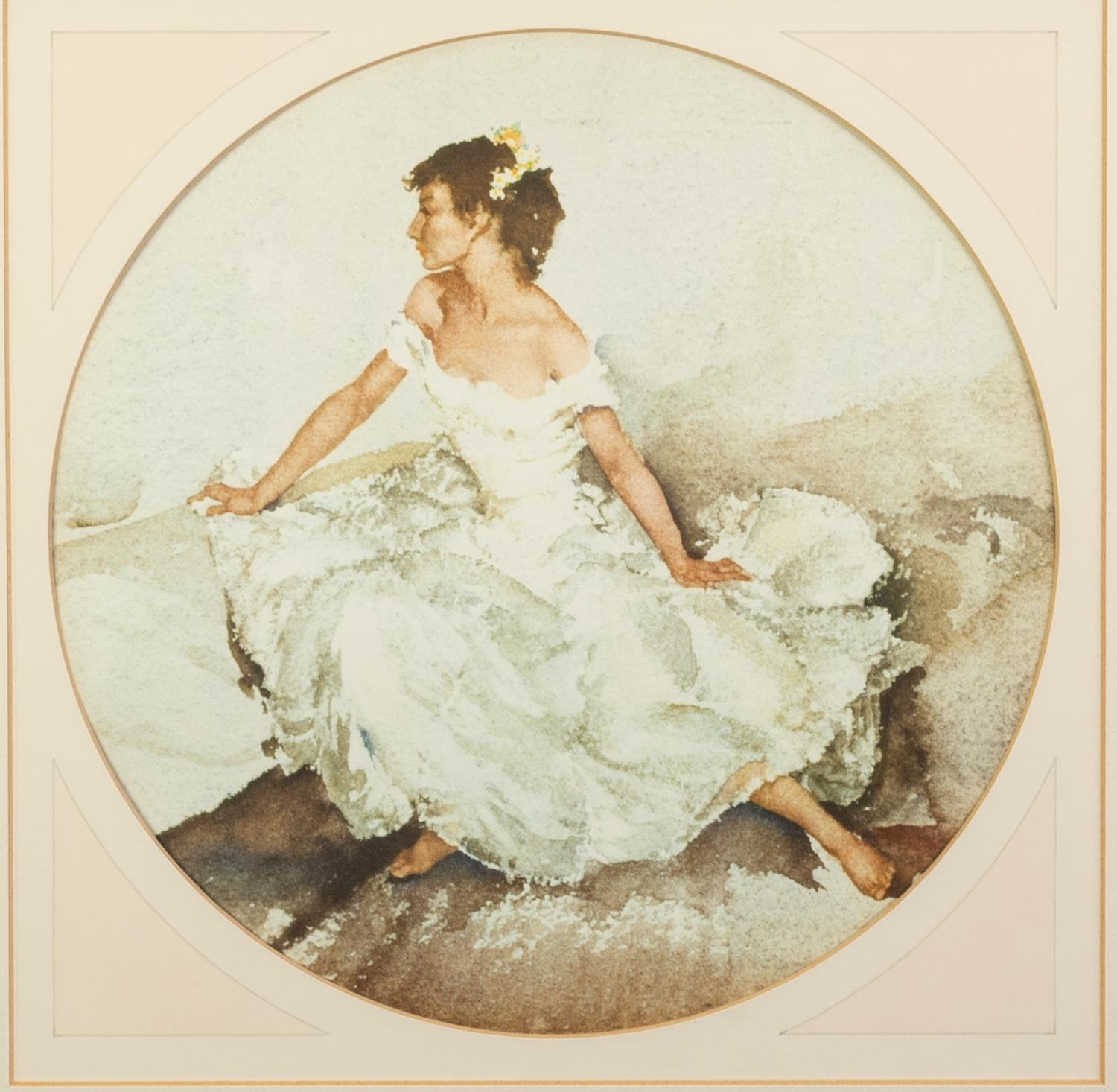 W. RUSSELL FLINT ARTIST SIGNED COLOUR PRINT Semi-clad female figure at a washing well Guild blind - Image 3 of 6